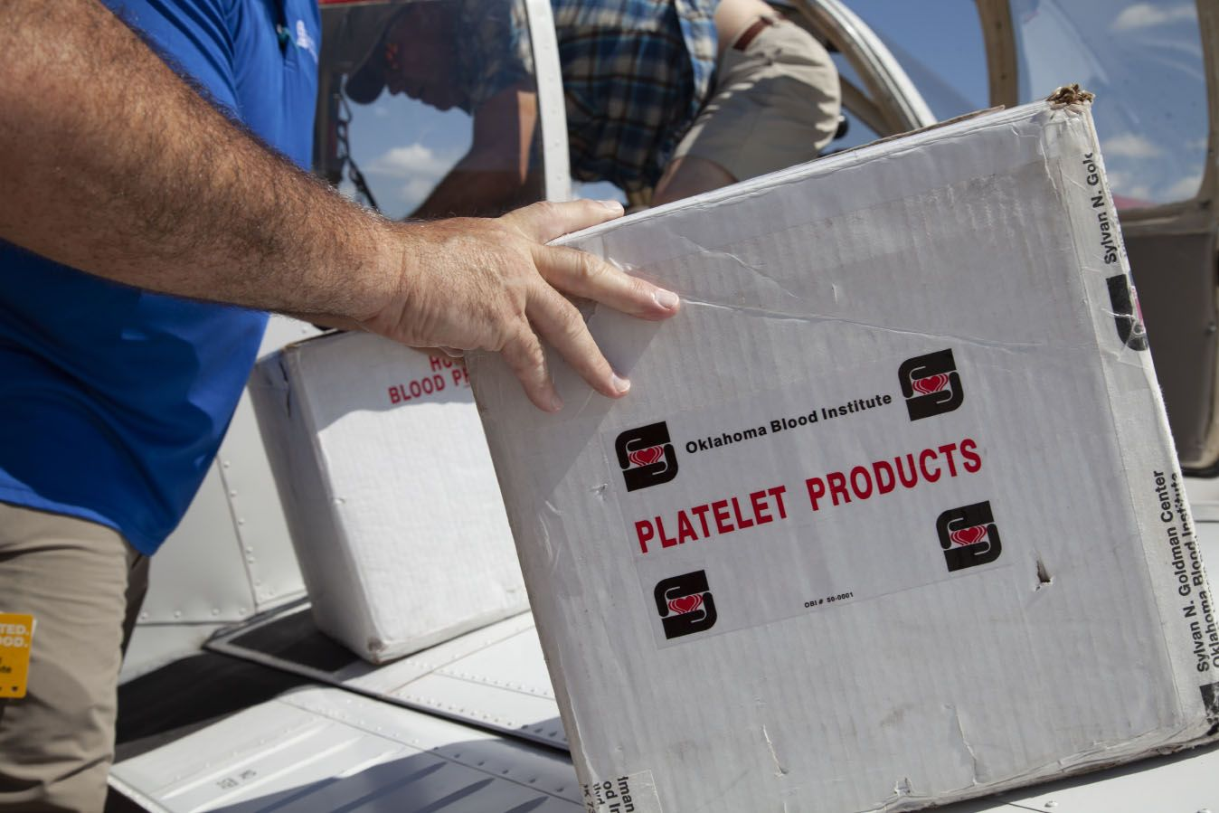 Life-saving blood product is loaded on a plane for a Flights For Life mission.